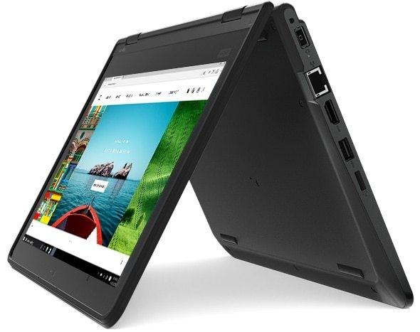 Lenovo ThinkPad Yoga 11e convertible laptop in tent mode.