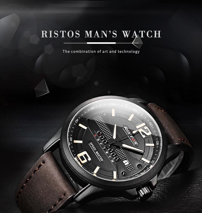 bd37d6daf7bd Longbo RISTOS Quartz Men Watch Sport Genuine Leather Watches Reloj ...