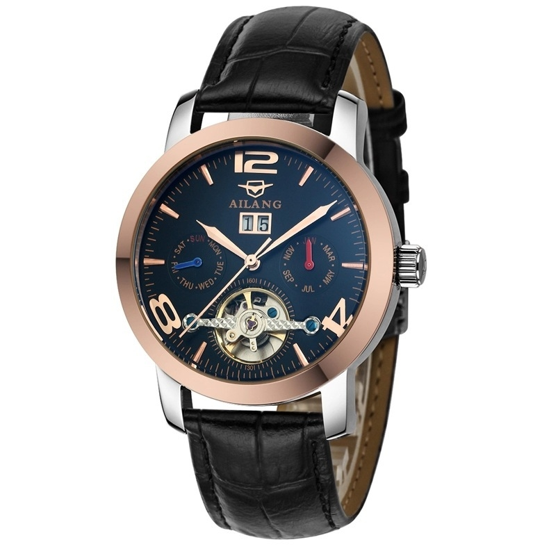Ai Wave Large Dial Rolex Automatic Mechanical Men Mechanical Watches Through The Back Watch Function Black Black