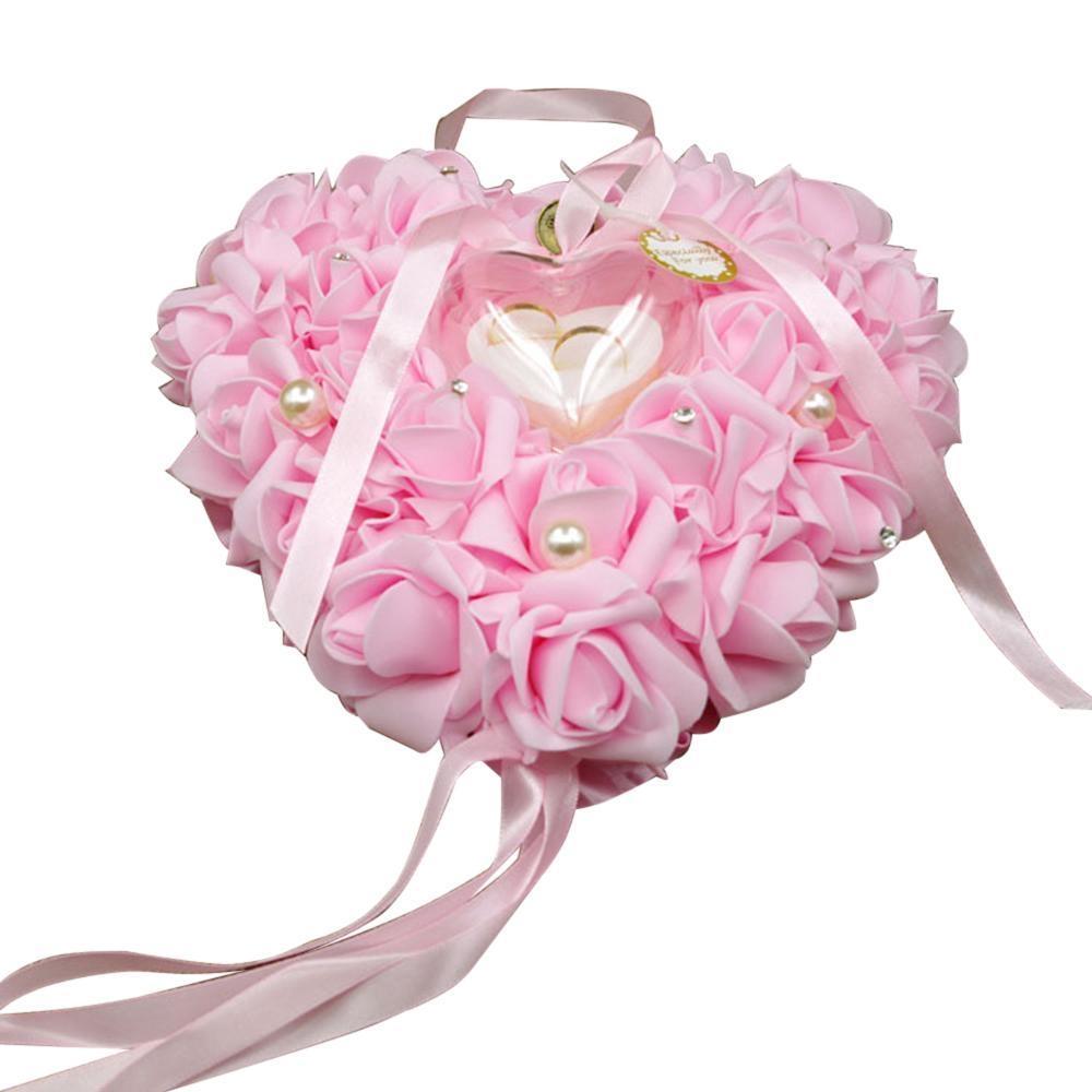 Buy Louis will Romantic Rose Heart Shaped Ring Box Pillow Wedding ...