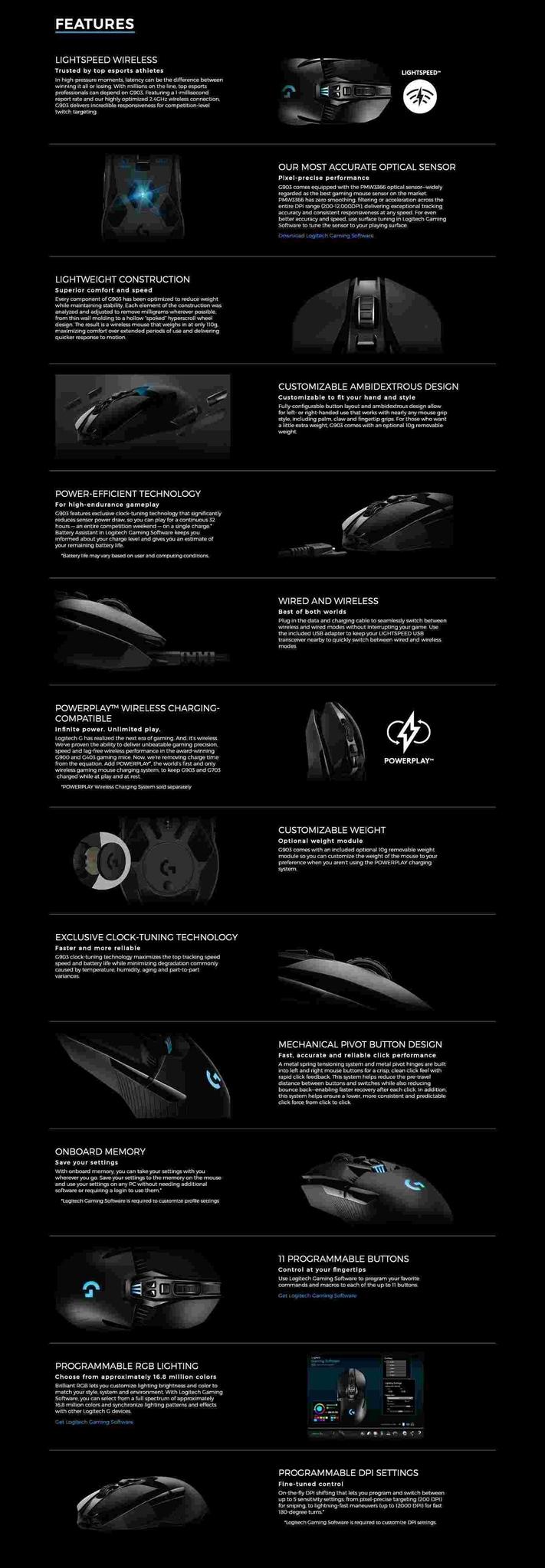 Logitech G903 LightSpeed Wireless Gaming Mouse BDZ @ Best Price