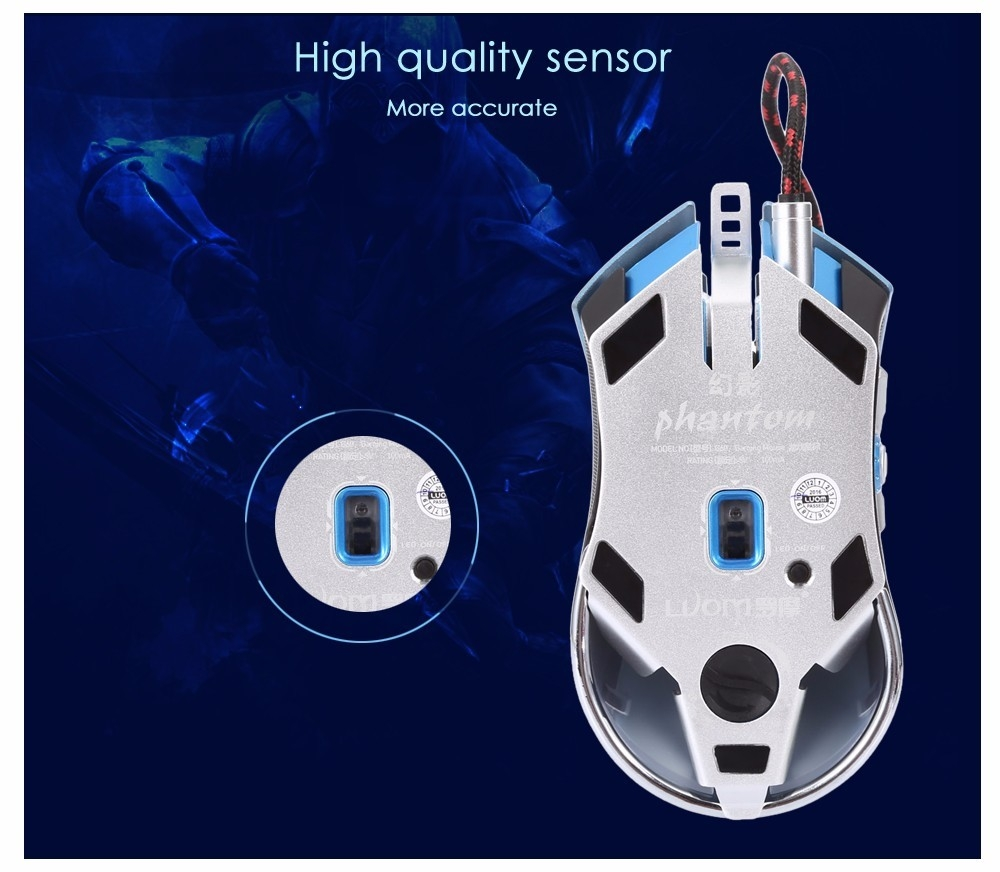 LUOM G60 Wired Nine Buttons Gaming Mouse Game Peripherals with LED for PC Laptop Computer