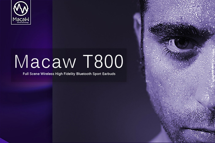 MACAW T800 Wireless Bluetooth Sport Music In-ear Earbuds Support Hands-free Calls Volume Control