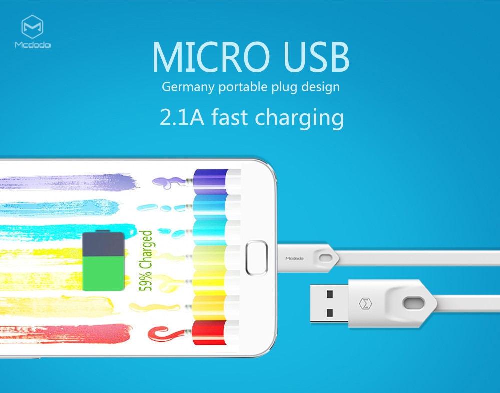 Mcdodo Micro USB Anti-twist Noodle Charge Data Transfer Cable 1M