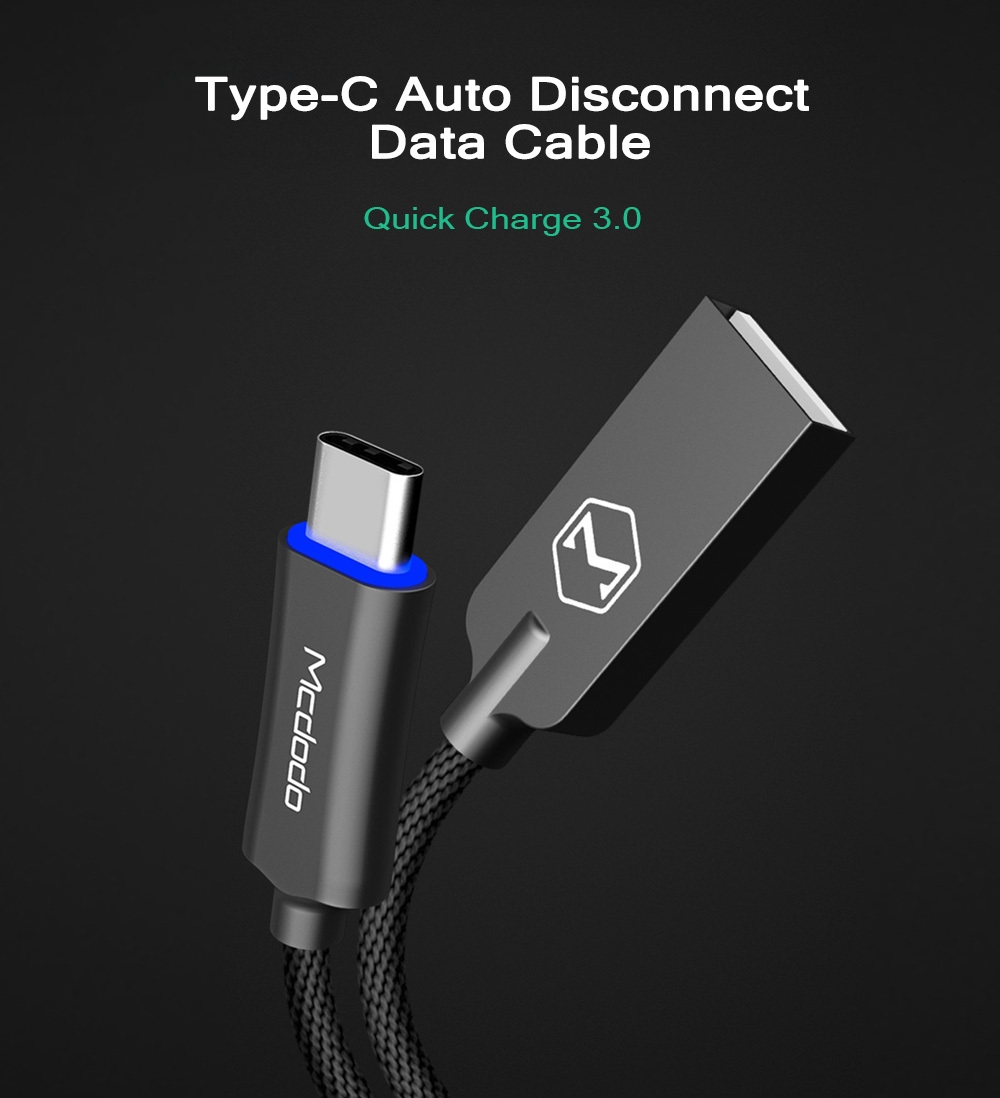 MCDODO CA - 288 Knight Series QC 3.0 Type-C Auto Disconnect Transfer Data Synchronization Charging Cable 1M