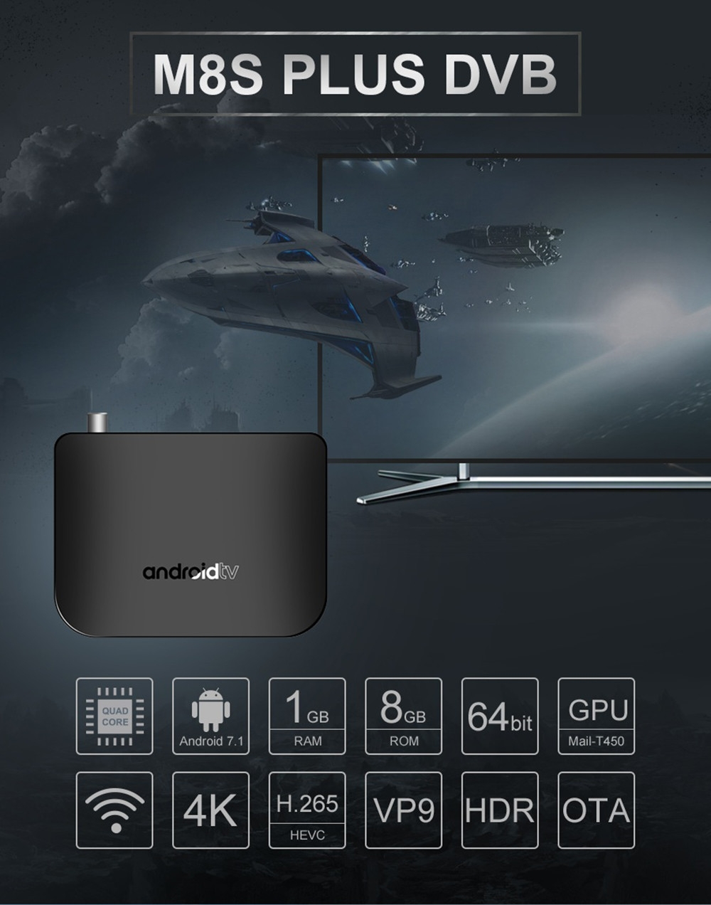 MECOOL M8S Plus DVB - T2 / T TV Box Amlogic S905D Android 7.1 1GB RAM + 8GB ROM 2.4G WiFi 100Mbps Support 4K H.265