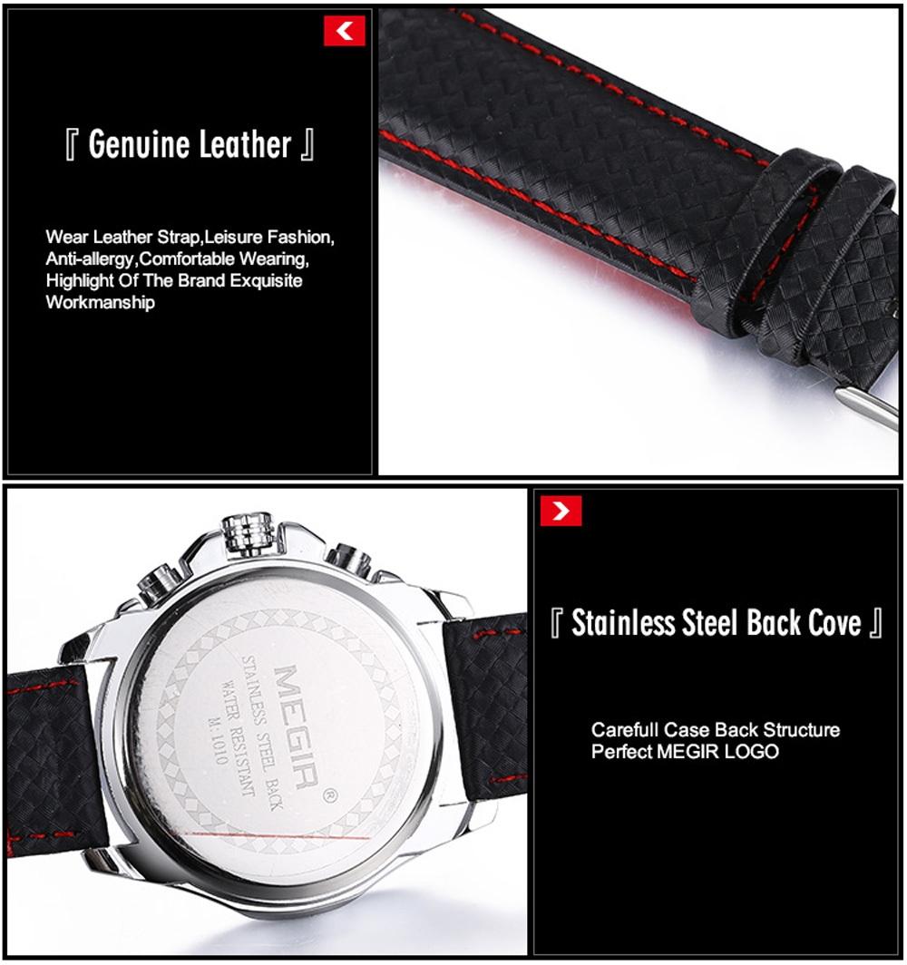 Megir 1010 Men Quartz Watch with Decorative Sub-dial