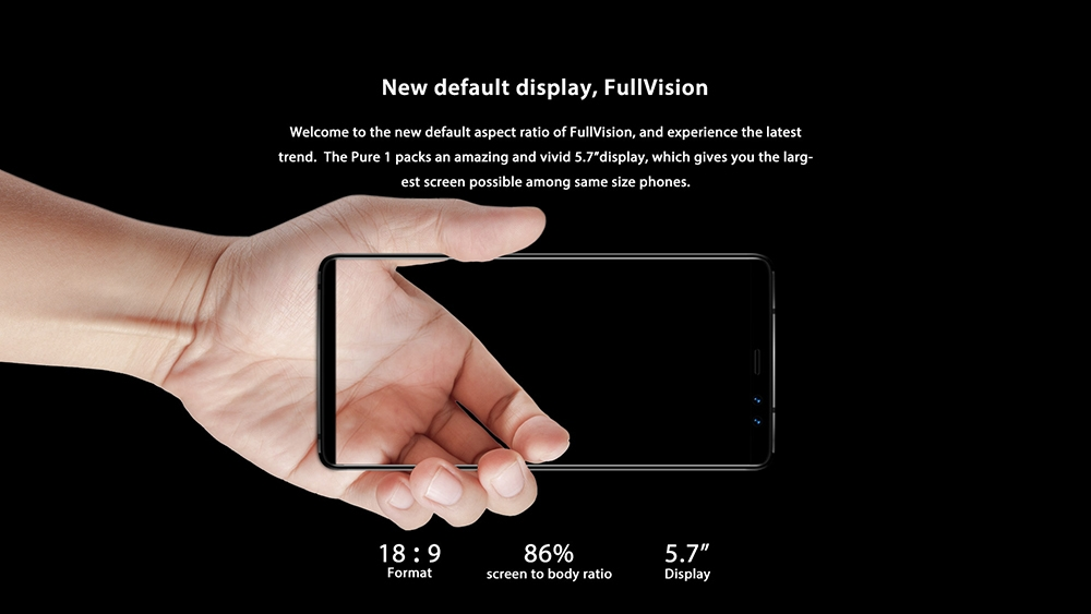 M - HORSE Pure 1 4G Phablet 5.7 inch Android 7.0 MTK6737 Quad Core 1.3GHz 3GB RAM 32GB ROM Dual Rear Cameras Fingerprint Scanner