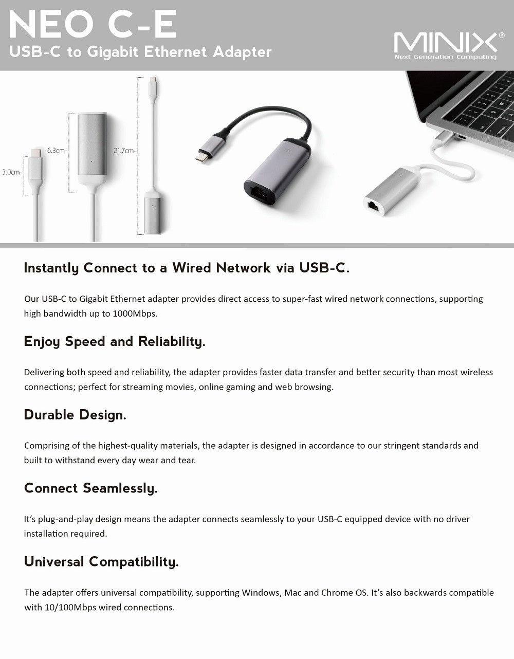 MINIX NEO C - E Advanced High Speed USB-C to Gigabit Ethernet Adapter