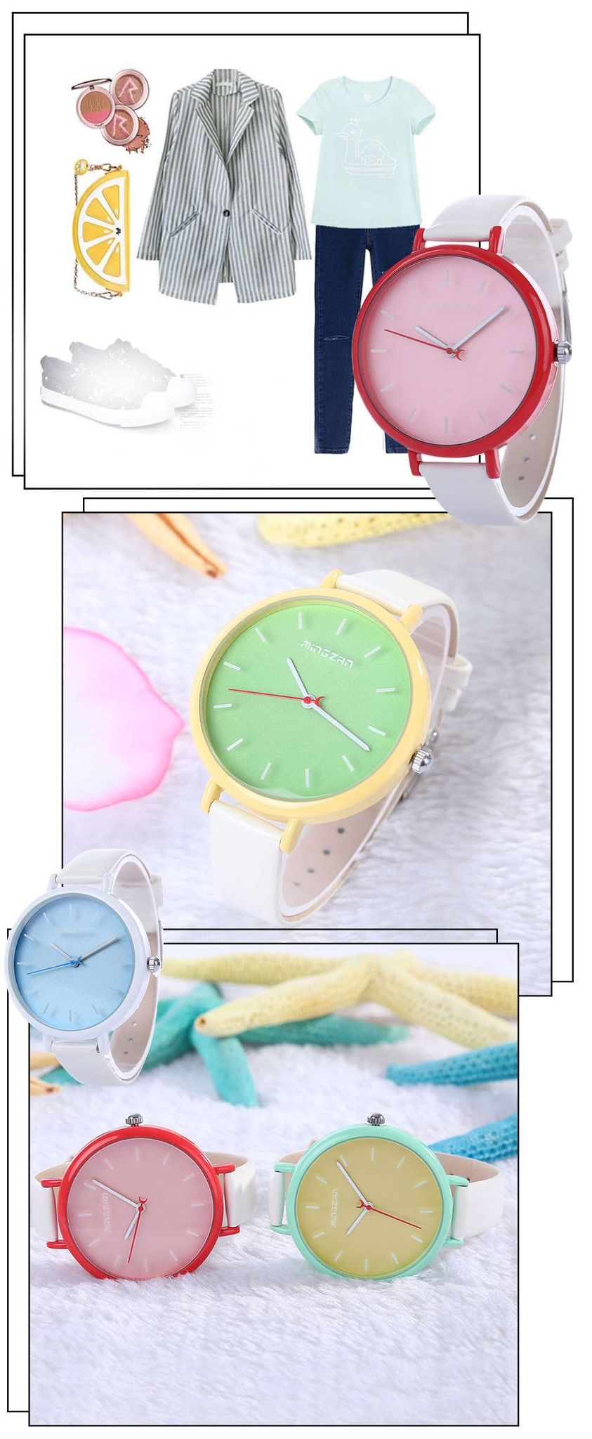 MINGZAN 6207 Women Quartz Watch Stereo Scales Female Wristwatch