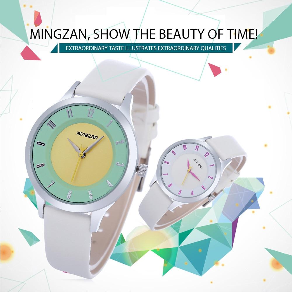 MINGZAN 6202 Women Quartz Watch Stereo Dial Leather Band Female Wristwatch