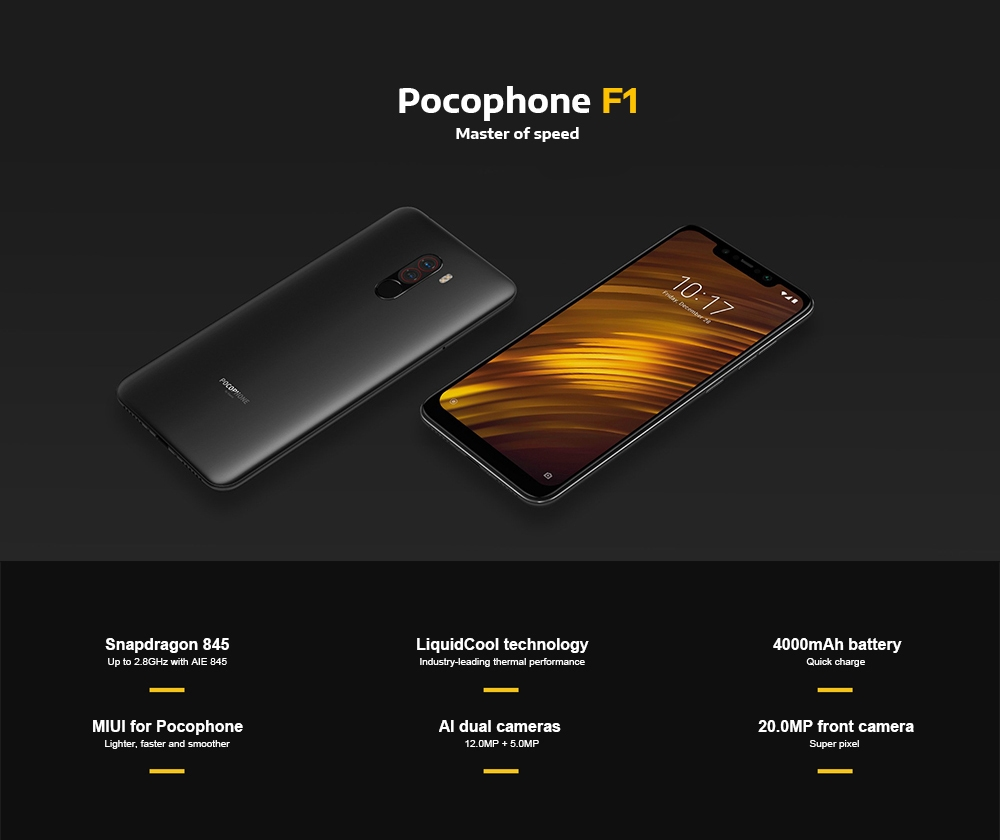 Xiaomi Pocophone F1 4G Phablet 6.18 inch Android 8.1 6GB + 64GB
