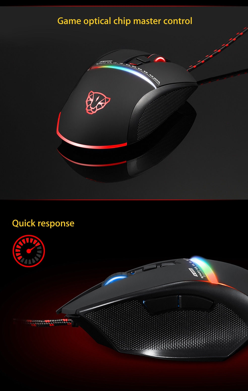 Motospeed V10 USB Gaming Wired Mouse with LED Backlight