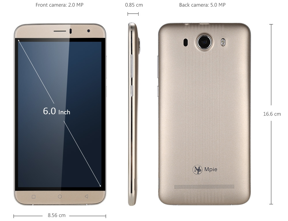 S15 3G Phablet 6.0 inch Android 5.1 MTK6580 Quad Core 1.3GHz 512MB RAM 8GB ROM Bluetooth 4.0