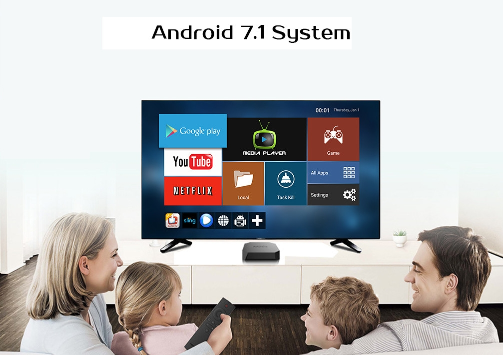 MXQ U2+-W Amlogic S905W Android 7.1 TV Box 1GB DDR3 + 8GB eMMC 2.4G WiFi H.265 HEVC