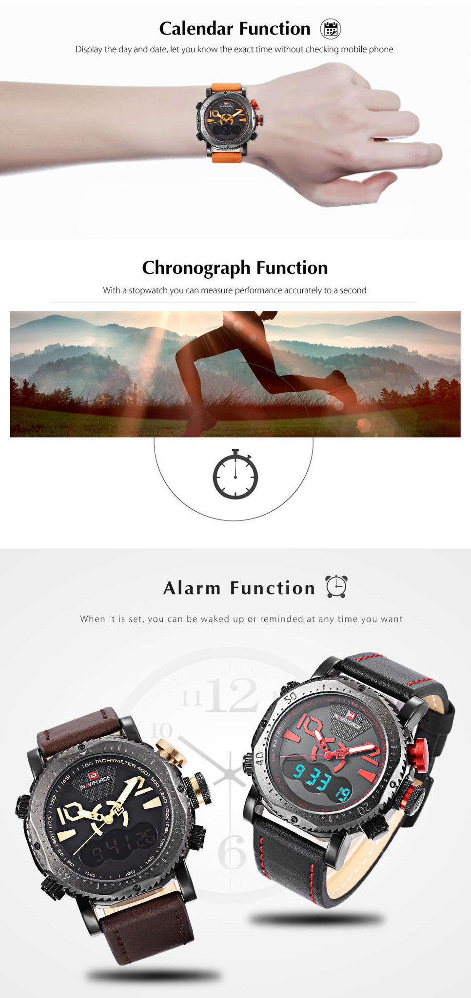 Naviforce NF9094M Male Dual Movt Watch Alarm Chronograph Men Wristwatch