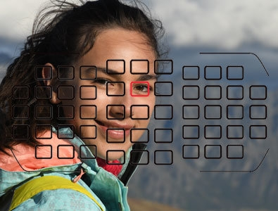 photo of a girl with the focusing grid overlay on top