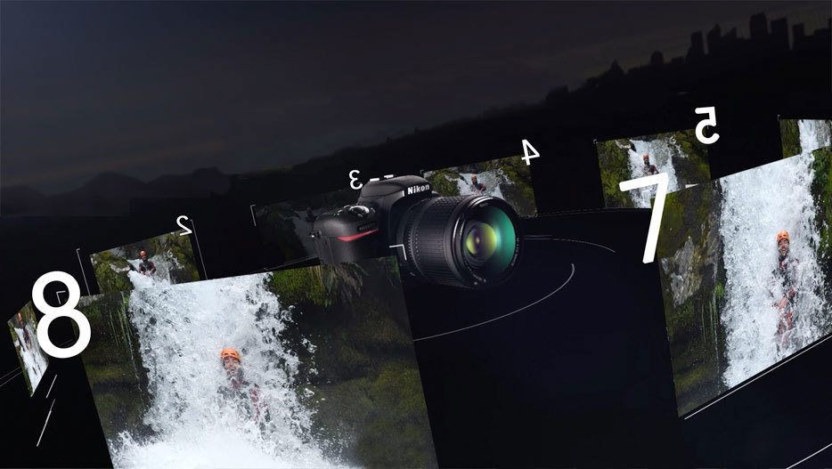 Illustration of 8 shots of a person in a waterfall with the camera