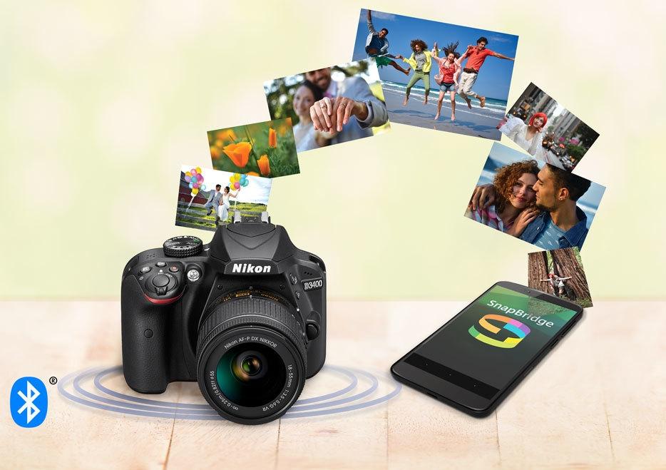 Photo of Nikon D3400, smartphone with SnapBridge
