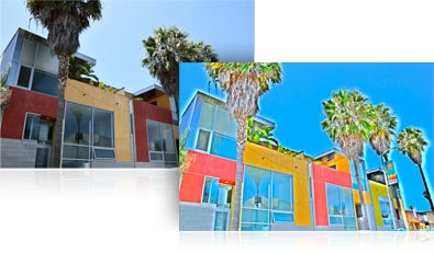 Two D5300 photos, one of a colorful building and palm trees and the other image of the same subject with a special effect filter applied