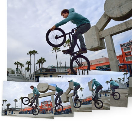 Photo of a guy on a bicycle, on one wheel with smaller shots showing continuous shooting