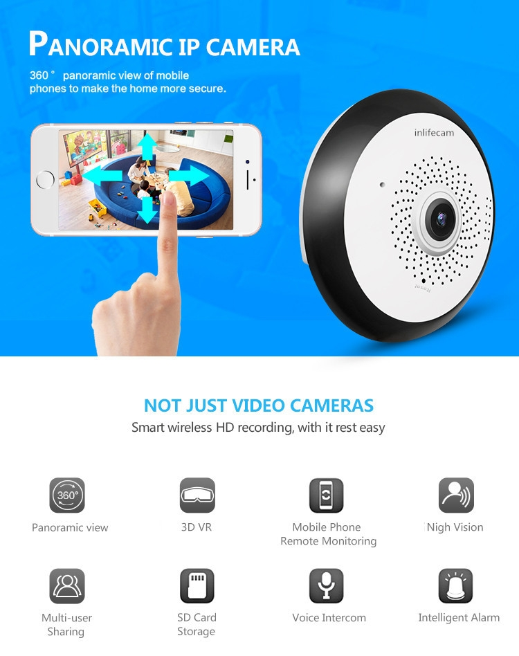 Generic VR Panoramic wifi ip camera 360° Degree Cctv Camera Wireless