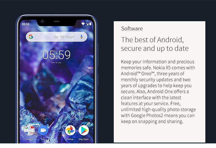 NOKIA X5 3GB RAM 32GB ROM Helio P60 MTK6771 2.0GHz Octa Core 5.86 Inch 2.5D HD+ Full Screen Dual Camera Android 8.1 4G LTE Smartphone