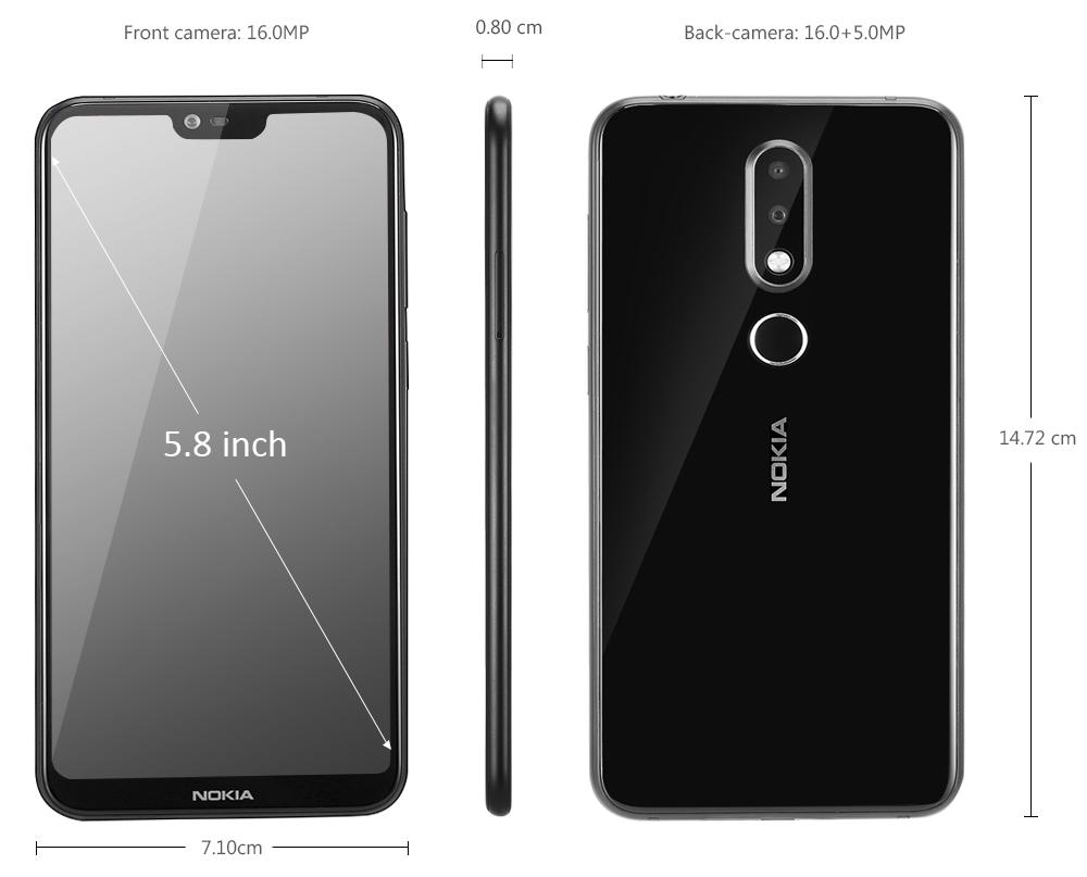 Nokia X6 4G Phablet 5.8 inch Android 8.1 Qualcomm Snapdragon 636 Octa Core 4GB RAM 64GB ROM 16.0MP + 5.0MP Dual Rear Cameras Fingerprint Sensor Face ID 3060mAh Built-in