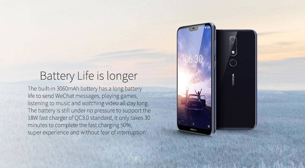 Nokia X6 ( Nokia 6.1 Plus ) 4G Phablet 5.8 inch Android 8.1 Snapdragon 636 Octa Core 4GB RAM 64GB ROM 16.0MP + 5.0MP Dual Rear Cameras Fingerprint Sensor Face ID 3060mAh Built-in- Black