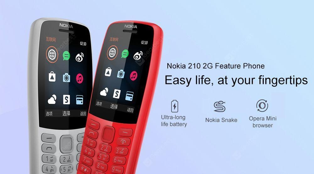 Nokia 210 2G Feature Phone 2.4 inch S30+ MT6260A 16MB RAM 16MB ROM 0.3MP Rear Camera 1020mAh Detachable - Black