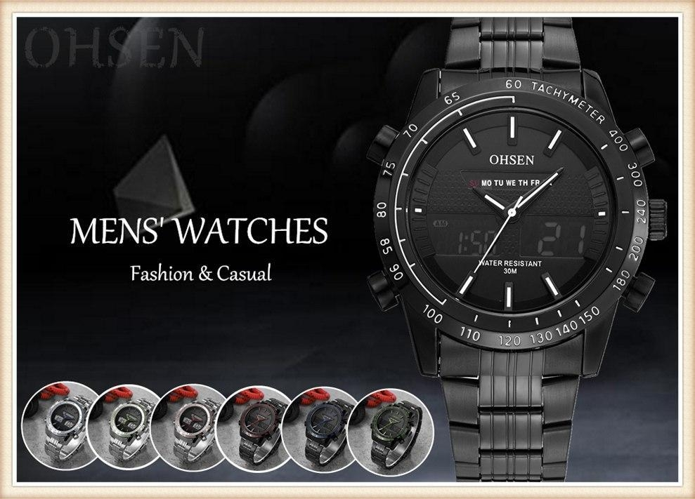 OHSEN 2018 New Luxury Brand Dual Time Clock Fashion Full Stainless Steel Men's Watch Army Male Sport Wristwatch Waterproof (19)