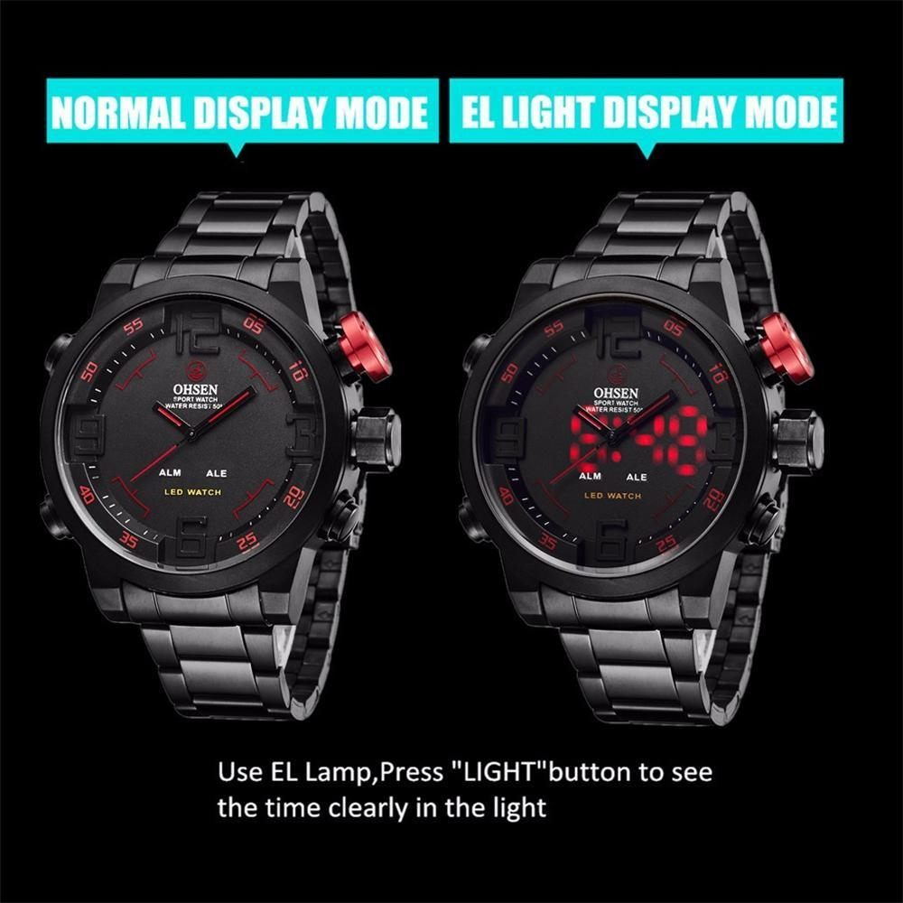 OHSEN Watch Men's Military Watches Men Luxury Brand Full steel Watch Sports Diver Quartz Multi-function LED Display Wristwatches (10)