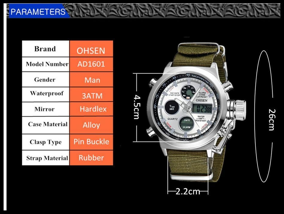 OHSEN Army Watches Men Luxury Brand Men's Sports 30m LED Military Watches  Fashion Casual Quartz Watch Relogio Masculino (16)