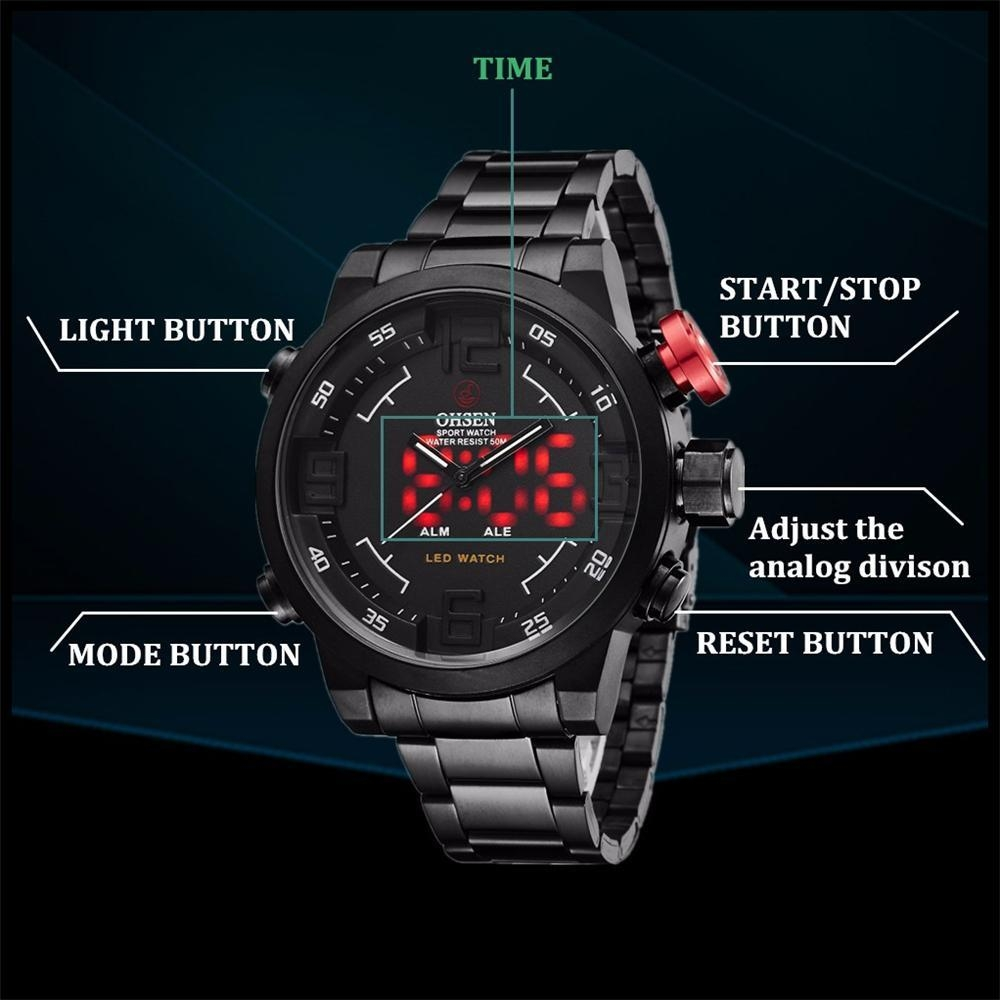 OHSEN Watch Men's Military Watches Men Luxury Brand Full steel Watch Sports Diver Quartz Multi-function LED Display Wristwatches (11)
