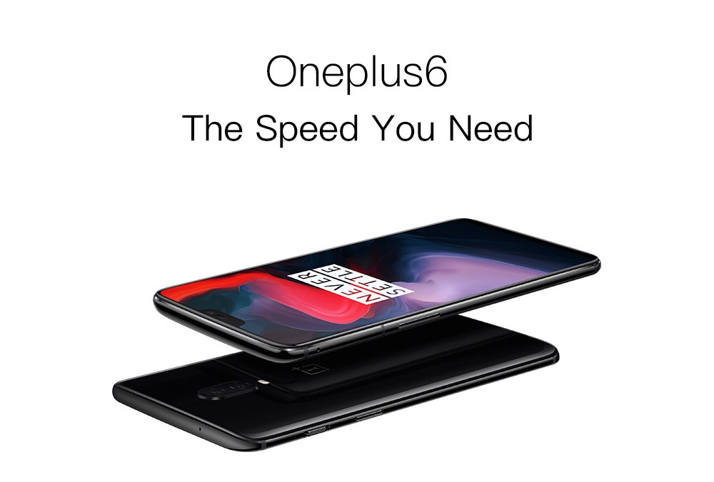 OnePlus 6 4G Phablet 6.28 inch Android 8.1 Snapdragon 845 Octa Core 2.8GHz 6GB RAM 64GB ROM 16.0MP + 20.0MP Dual Rear Cameras Fingerprint Scanner 3300mAh Li-ion Battery