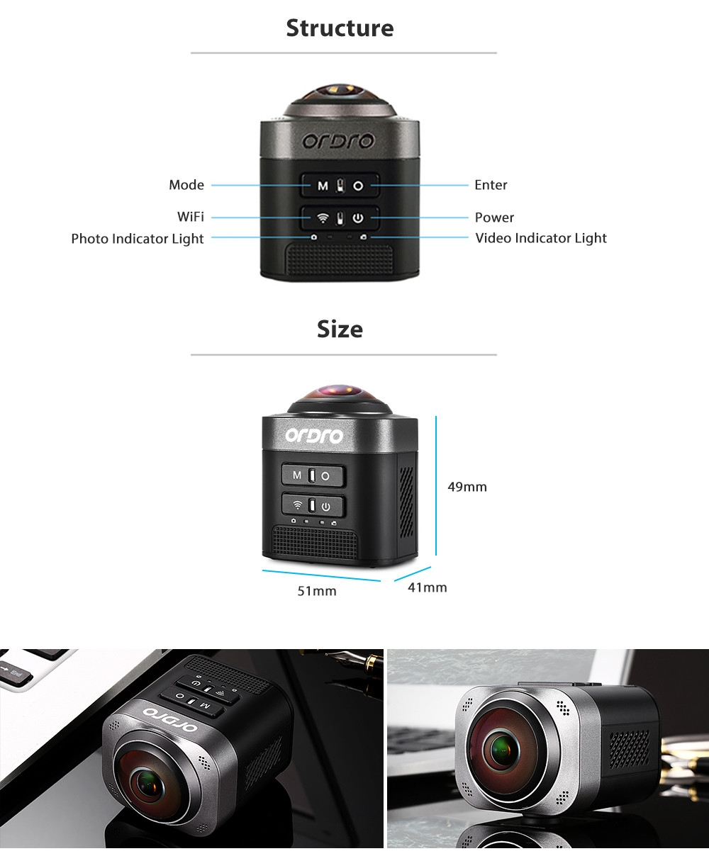 ORDRO D5 Portable 360 Degree Panorama 1080P VR Mini WiFi Panoramic Sports Action Camera for Outdoor Travel