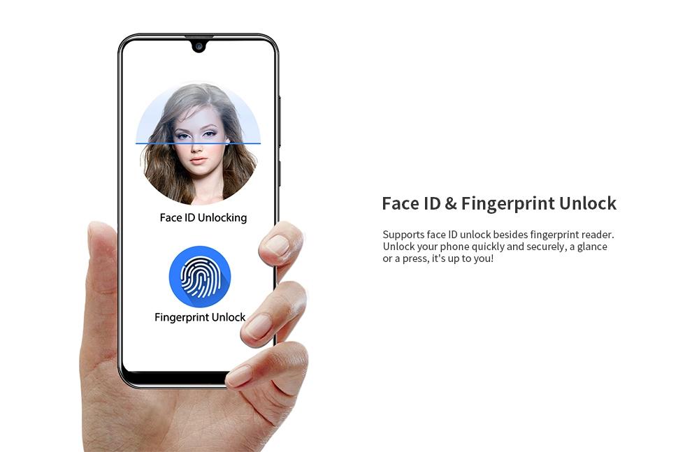 OUKITEL C16 3G Phablet 5.71 inch Android 9.0 MT6580P Quad Core 2GB RAM 16GB ROM 8.0MP + 2.0MP Rear Camera 2600mAh Battery Face ID Fingerprint Unlock