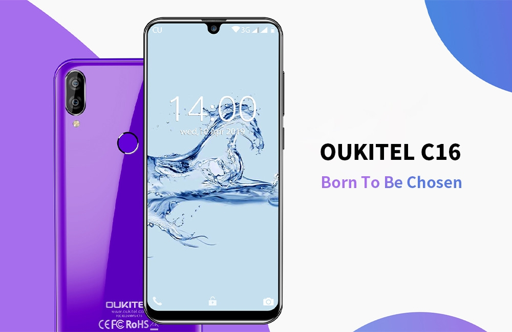 OUKITEL C16 3G Phablet 5.71 inch Android 9.0 MT6580P Quad Core 2GB RAM 16GB ROM 8.0MP + 2.0MP Rear Camera 2600mAh Battery Face ID Fingerprint Unlock