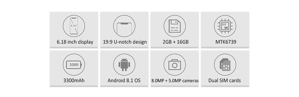 OUKITEL C12 Pro 4G Phablet 6.18 inch Quad Core 2GB RAM 16GB ROM