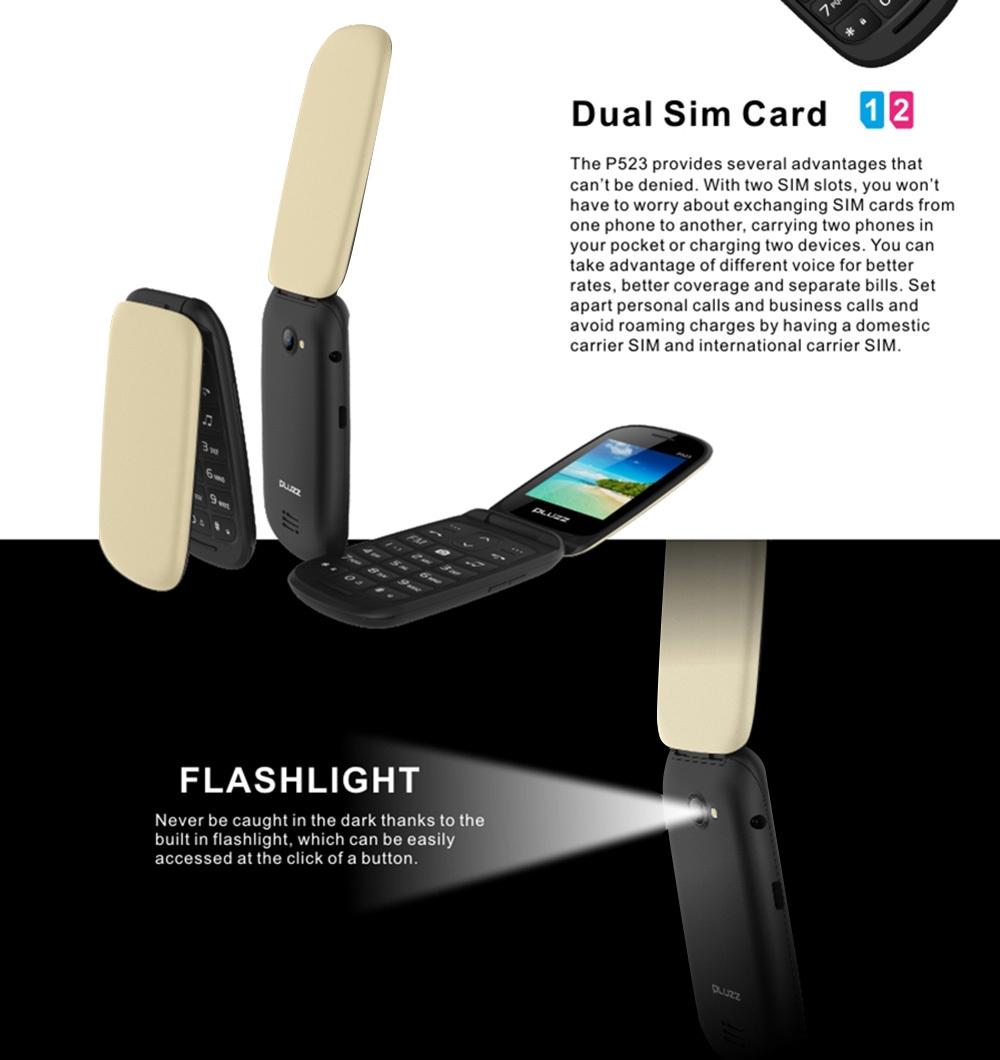 PLUZZ P523 2G Quad Band Phone 2.4 inch MTK 6261D Single Core 260MHz 32MB RAM 32MB ROM BT 2.1 1.3MP Rear Camera 750mAh Detachable