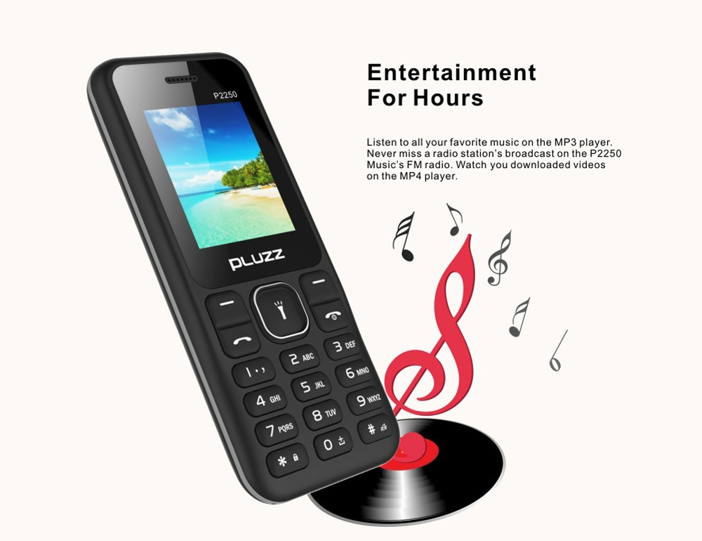PLUZZ P2250 2G Feature Phone 1.77 inch MTK 6261D Single Core 260MHz 32MB RAM 32MB ROM MP3 FM 1000mAh Detachable