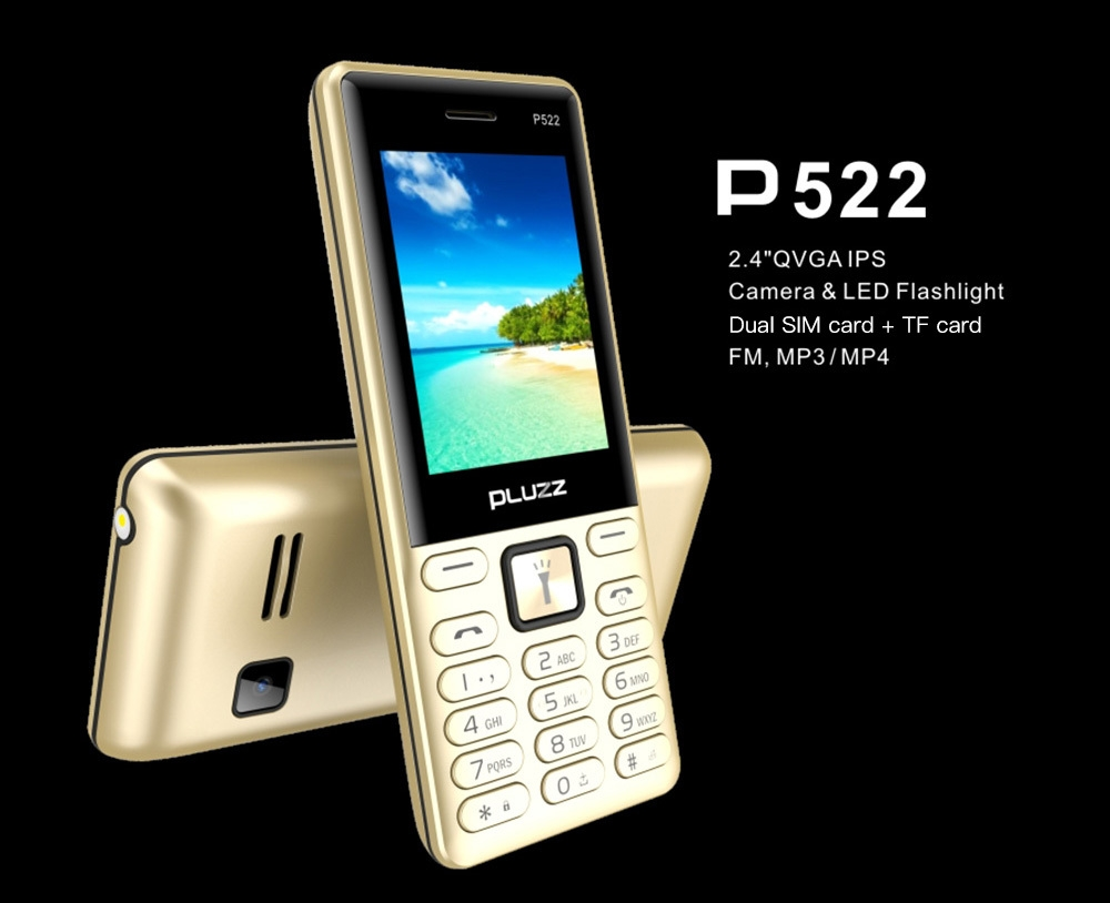 PLUZZ P522 2G Quad Band Phone 2.4 inch MTK 6261D Single Core 260MHz 32MB RAM 32MB ROM 0.3MP Rear Camera 1700mAh Built-in