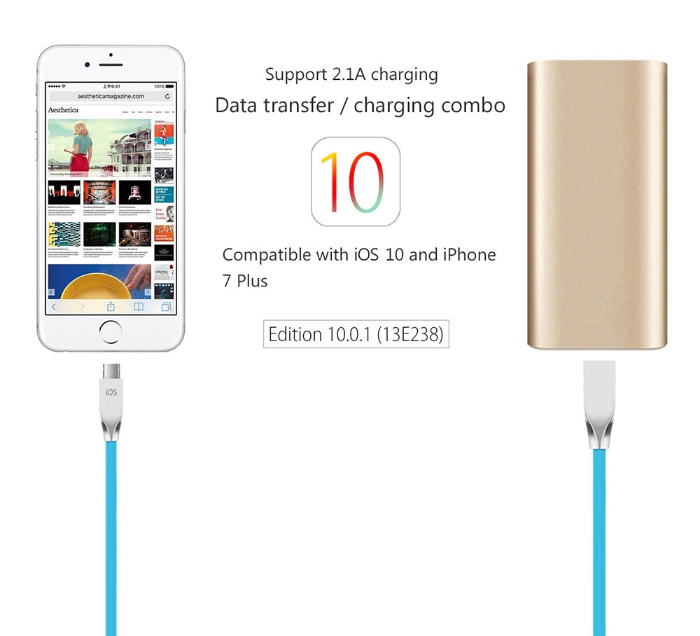 POFAN Zinc Alloy Housing 8 Pin Micro USB Data Transfer and Charging Cable for iPhone Samsung PVC Anti-twining Cord - 120cm