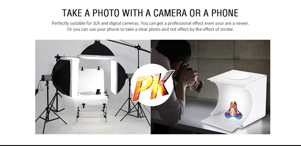 PULUZ 2 LED Mini Light Room Photo Studio Lighting Tent Backdrop Cube Box