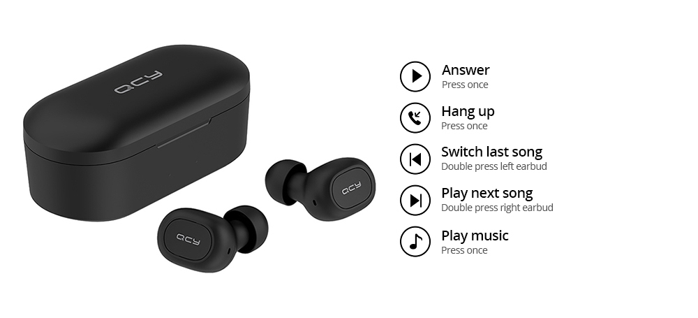 QCY T2C TWS Bluetooth Earphones Binaural Wireless Stereo Earbuds with Mic and Charging Dock