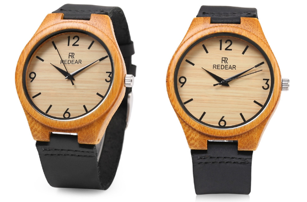 REDEAR SJ 1448 - 8 Wooden Male Quartz Watch Leather Strap Wristwatch
