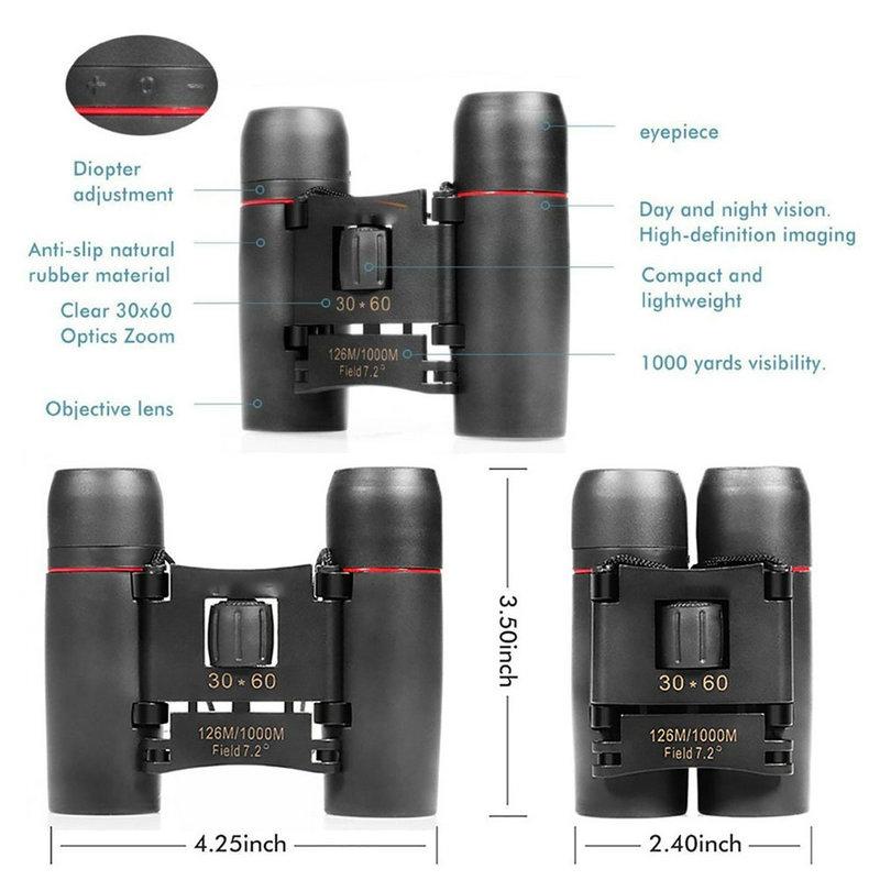 Telescopes Outdoor Portable Travel Sakura Night Vision Mini 30x60 Binoculars Telescopes black 6CM 4