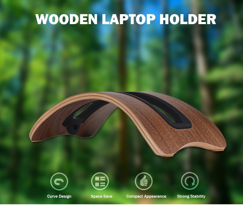 SAMDI Laptop Stand Notebook Wood Holder for Mac Air / Pro