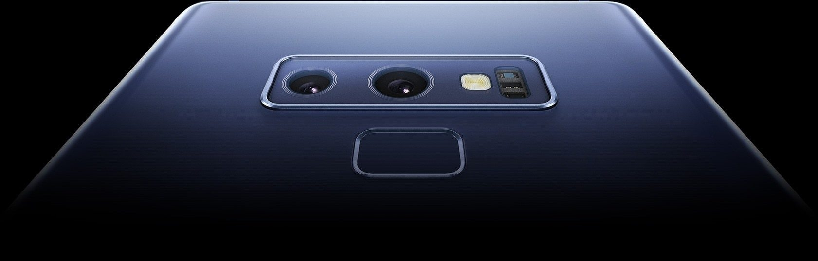 An extreme closeup of Galaxy Note9's dual lens rear camera and fingerprint scanner