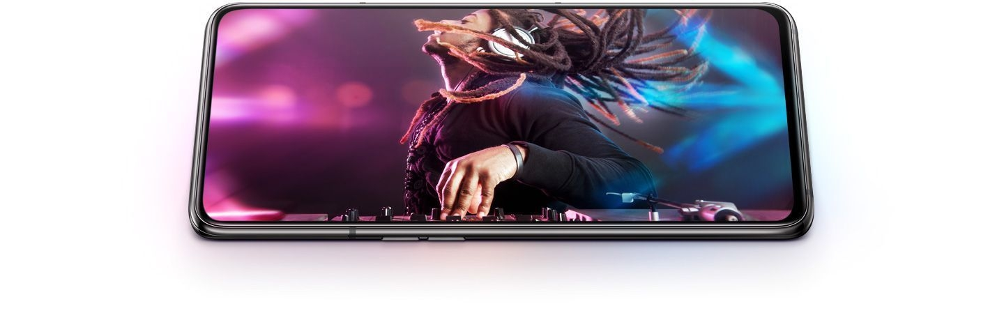 Galaxy A80 in landscape mode with a man DJing on-screen showing smooth performance.